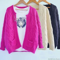 Wow~ Awesome New Retro Twist Mohair Sweater Cardigan ! It only $34.99 at www.AtWish.com! I like it so much<3<3!
