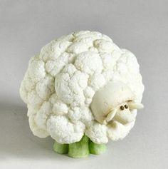 Cauliflower Sheep crafted of stone resin