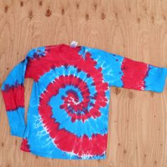 Red, White and Blue Spiral Tie Dye Long Sleeve Shirt - love these for 4th of July
