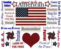 Proud To Be An American, patriotic printables for the Fourth of July, Memorial Day, Veterans' Day.
