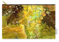 Chardonnay Grapes in sunlight Carry-all Pouch by Sabina Von Arx Yellow Bathroom Decor, Autumn Lights, Shade Structure, Green Grapes, Warm Autumn, Beautiful Paintings, Painting Techniques, Color Show, Sunlight
