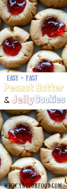 {Recipe Video} Delicious, soft, two-bite peanut butter and jelly thumbprint cookies are extremely easy and fast to make. A wonderful holiday or any day cookie!