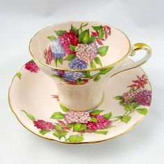 Aynsley Tea Cup and Saucer with Hydrangea Flowers, Corset Shape, Vintage Bone China