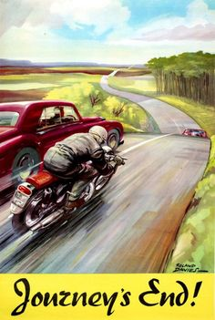 Roland Davis, safe driving awareness poster for UK's Royal Society for the… Motorcycle Posters, Car Posters, Motorcycle Art, Bike Art, Logos Vintage, Vintage Advertisements, Vintage Ads, Vintage Posters, Road Safety Poster