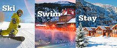 ski swim stay collage: snowboarder, hot springs pool, & cabins at the Glenwood Canyon Resort Colorado Cabins, Colorado River, Colorado Mountains, Snowboarding, Skiing, Glenwood Canyon, Co Trip, Adventure Center, Mountain Cabins