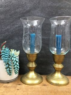Brass Candle Set With Mismatched Glass Chimneys Vintage Rustic Farmhouse Decor Brass Candle Holders, Vintage Candle Holders, Candle Set, Apothecary Bottles, Farmhouse Kitchen Decor, Hurricane Glass, Pillar Candles, Unique Jewelry, Handmade Gifts