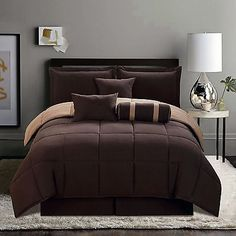 #Priceabate 7-Piece Queen Size Comforter Set Reversible Brown Bed-In-A-Bag - Buy This Item Now For Only: $54.99