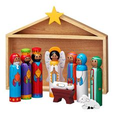 """Fair Trade Nativity Scene from Lanka Kade, made in Sri Lanka - from borngifted;  main figures are approx. 6"""" tall;  made of wood;  the stable doubles as a box for the set"""