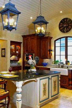 My Favorite French country kitchen - traditional - kitchen - louisville - Mike Smith / Artistic Kitchens Country Chic Kitchen, Country Kitchen Lighting, Kitchen Lighting Design, Country Kitchen Designs, Kitchen Lighting Fixtures, Country Style, Light Fixtures, Country Blue, Country Art