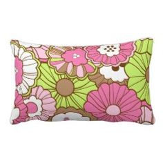 Pretty Pink Green Flowers Spring Floral Pattern Pillow