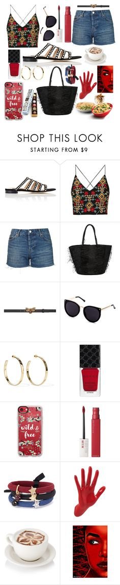 """Fun day ahead💟"" by pulseofthematter ❤ liked on Polyvore featuring Sergio Rossi, Topshop, Sensi Studio, Gucci, Jennifer Fisher, Casetify, Maybelline, Marc Jacobs, Thelermont Hupton and Maxwell Dickson"