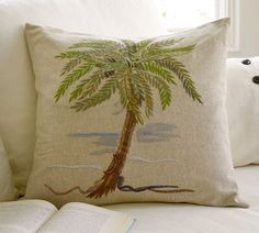 """Beach House Single Palm Embroidered Pillow Cover (2) for Seating 20"""" Sq."""