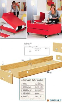 DIY: How to Make Your Own Convertible Coffee Table and Folding Bed (Free Project Diagram, In Progress Photos and Material List):