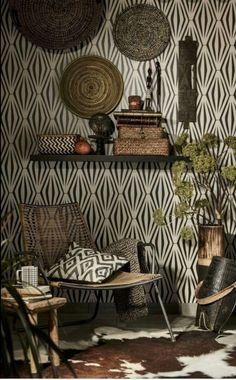 African interior decor wallpaper African Living Rooms, African Room, African House, Ethnic Decor, Tribal Decor, Tribal Room, African Interior Design, African Design, African Style