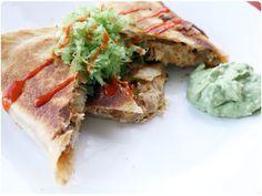 Buffalo ChickenQuesadillas: I think I'll add avocado & shredded spinach to the chicken mix.