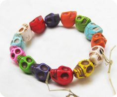 Colorful Turquoise skull  bracelet Day of the death by touchsoul, $5.50