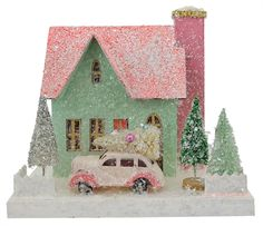 Fill your Christmas village with Cody Foster holiday houses & Folk Art from Traditions! Shop Cody Foster decorations for Easter, Halloween & Christmas. Christmas Paper, Pink Christmas, Christmas Home, Vintage Christmas, Christmas Ornaments, Christmas Scenes, Christmas Village Houses, Putz Houses, Christmas Villages