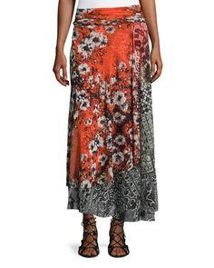 FUZZI FLORAL-PRINT MAXI SKIRT. #fuzzi #cloth #
