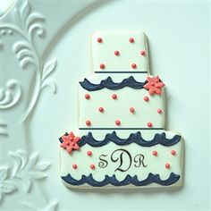 Monogrammed Wedding Cake Cookie