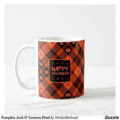 Coffee mug Happy Halloween Pumpkin Jack O' Lantern Plaid #zazzle #mugs #plaid #pumpkins