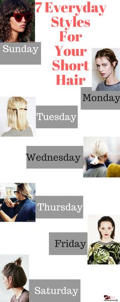 beauty hair tip for seven days http://www.simplyflatiron.com/7-ways-to-style-your-short-hair-everyday-courtesy-of-pinterest/ #hairs #inspiration #haircuts
