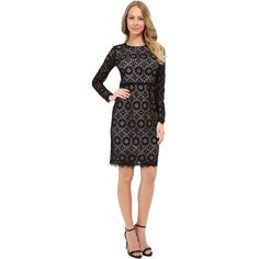 Maggy London Star Flower Lace Sheath Women's Dress ($90) ❤ liked on Polyvore featuring dresses, black, flower lace dress, star dress, lace overlay dress, lace sheath dress and flower dress