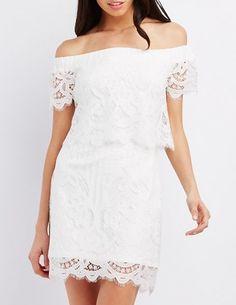 Off-the-Shoulder Lace Shift Dress - $44.99