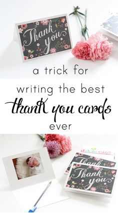 Wondering how to write a thank you card that& sincere and thoughtful? This super easy trick will make writing a thank you card quick and easy! You& never wondering what to write in a thank you card again! Thank You Card Sayings, Writing Thank You Cards, Thank You Quotes, Thank You Gifts, Birthday Thank You Notes, Birthday Cards, Wedding Thank You, Wedding Cards, Business Thank You Notes