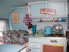 Inside the retro trailer owned by Lorri from Cute As Pie Cottage blog.