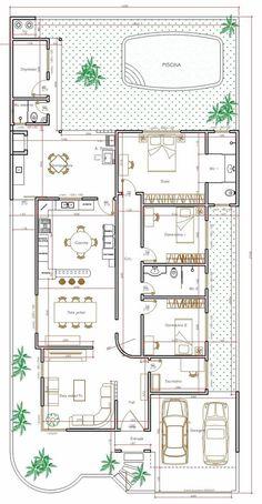 Projeto de casa térrea de 3 quartos com 170,35m²: