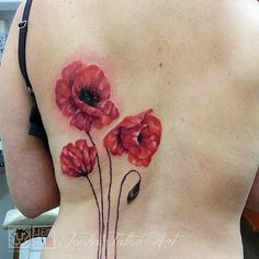 Watercolour poppies. Jemka - Sydney NSW. skinink.com.au Watercolor Poppies, Watercolor Tattoo, Poppies Tattoo, Balmain, Tattoo Artists, Ink, Sydney, Tattoos, Floral