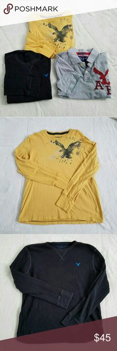 """Bundle of Men's AE Shirts 3 shirts in excellent condition from American Eagle Outfitters, all size Large. Yellow long sleeve shirt printed with signature eagle in Navy blue. Black thermal long sleeve with blue eagle logo. Gray short sleeve polo shirt with red and gray graphics, """"vintage fit"""". American Eagle Outfitters Shirts"""