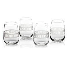 Viva Scandinavia Cheers Cin cin Skål Salute Glasses Set of 4 Mouthblown Etched Stemless Wine Glasses, Cottage Living, Hand Blown Glass, Cheers, Tableware, Gifts, Ebay, Cooking Ideas, Kitchen