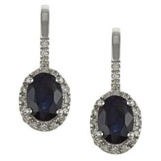 10k White Gold Genuine Blue Sapphire and Diamond Earrings (1/5 TDW) Designer-Diamonds. $199.99. Save 67%!