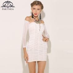 f0507b0769 Parthea Sexy Women Lace Up Mesh Dress White Long Sleeve Ruched Sheer Winter  Dress Spring Bodycon Party Dresses Vestidos 2018 New