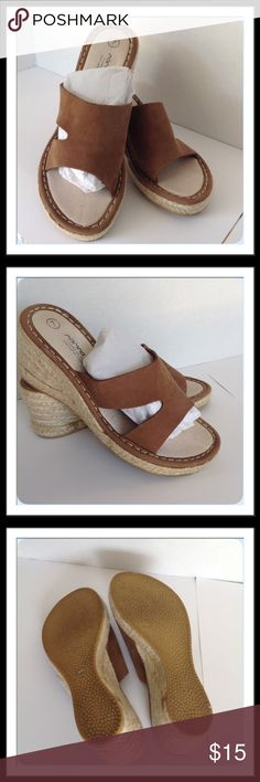 "Brown Wedge Sandals Leather uppers. 2 1/2"" wedge. Made in Spain  🚫 Trades 🚫 Holds Shoes Sandals"