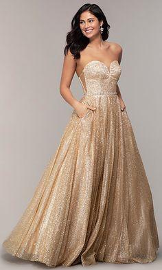 8f92dbace82 Long Glitter Mesh Strapless Sweetheart Prom Dress