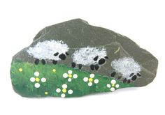 Primitive Painted Slate Sheep Pin or Brooch. by TimesNotForgotten