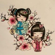 Geisha Tattoos, Irezumi Tattoos, Tattoo Drawings, Body Art Tattoos, Kokeshi Tattoo, Tattoo Japonais, Doll Drawing, Kawaii Tattoo, Fan Tattoo