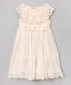 Look at this #zulilyfind! Pink Lace Floral Babydoll Dress - Toddler & Girls by Bijan Kids #zulilyfinds