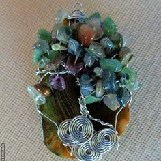 Green Agate Slice Tree of Life Pendant with Moss Agate Chip Beads / Wire Wrap Jewelry / Statement Necklace