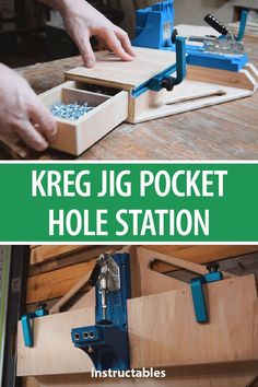 Kreg Jig Pocket Hole Station Here is a quick way to make Kreg Pocket Hole Station with drawers and stop blocks.Here is a quick way to make Kreg Pocket Hole Station with drawers and stop blocks. Learn Woodworking, Popular Woodworking, Woodworking Videos, Woodworking Furniture, Woodworking Crafts, Woodworking Plans, Wood Furniture, Woodworking Workshop, Youtube Woodworking