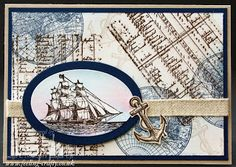 Great card for a man made using The Open Seas Stamp Set from Stampin' Up! This would make a great Fathers Day Card!