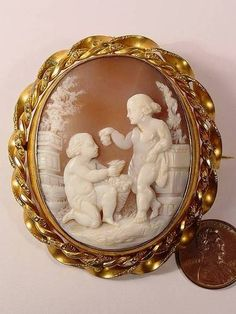 Fab Antique Hand Carved Shell Cameo Locket Pin C1880   eBay