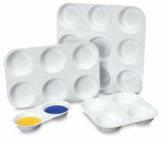 Richeson Plastic Muffin Pans - 7-1/8 x 7-1/8, Muffin Pan, 4 Wells by Richeson. $1.35. These economical, vacu-formed white plastic pans are ideal for mixing or holding lots of paint.