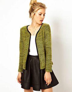 ASOS Women's Blazer in Textured Boucle with Contrast Binding Green