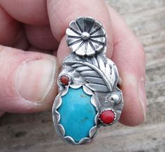 Native American Inspired Ring Turquoise Ring Coral Ring