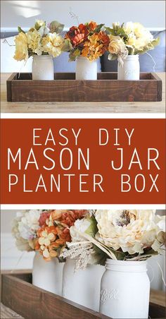 DIY mason jar planter box. Love this for an easy centerpiece!!