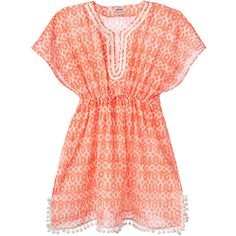Stella & Dot Capri Tunic - Coral Woodblock (1 150 ZAR) ❤ liked on Polyvore featuring tops, dresses and stella & dot