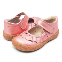 """With scalloped ruffle trim, """"Ruche"""", our darling youth girl's' shoe is classic style that can be worn on any occasion. This flexible, breathable shoe is the perfect school shoe! 